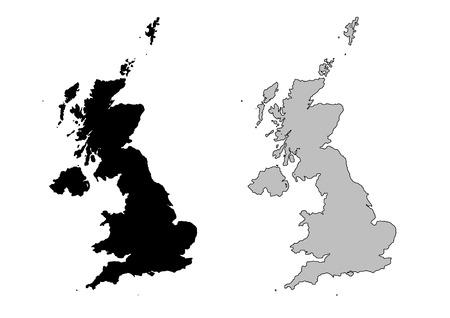 Reino Unido mapa. Blanco y negro. Proyección de Mercator.