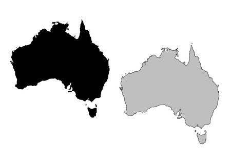 Australia map. Black and white. Mercator projection.