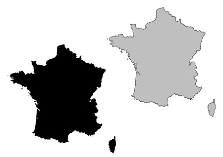 isolated on a white background: France map. Black and white. Mercator projection. Illustration