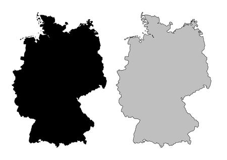Allemagne carte. Noir et blanc. Mercator projection.