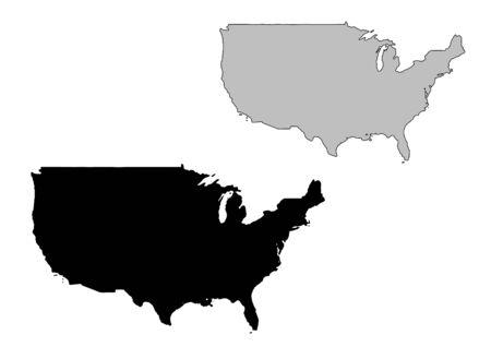 Estados Unidos mapa. Blanco y negro. Proyección de Mercator. Foto de archivo - 4780409