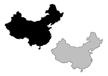 vector maps: China map. Black and white. Mercator projection.