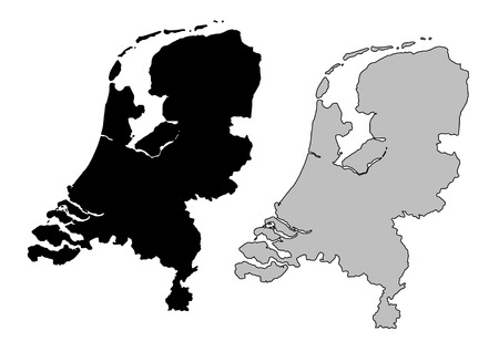 olanda: Paesi Bassi mappa. Bianco e nero. Proiezione di Mercatore.