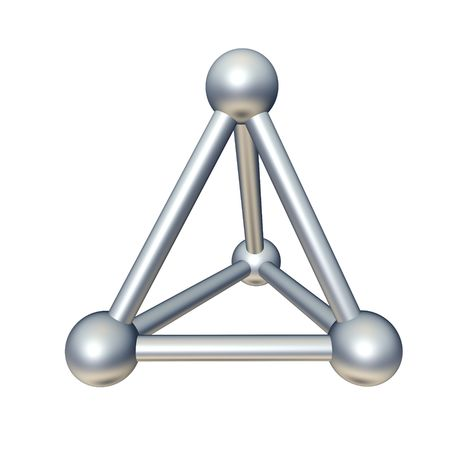 3d triangle: Pyramid model isolated on white. 3d rendered illustration. Stock Photo