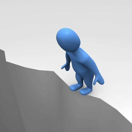 sheer: Man at sheer cliff. 3d rendered illustration.