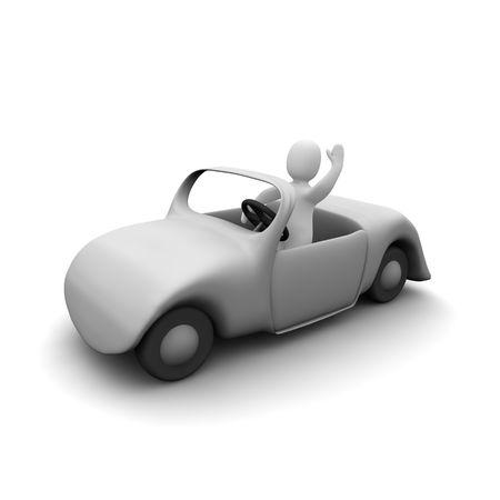 carritos de juguete: Hombre feliz en coche descapotable. 3d prestados ilustraci�n.