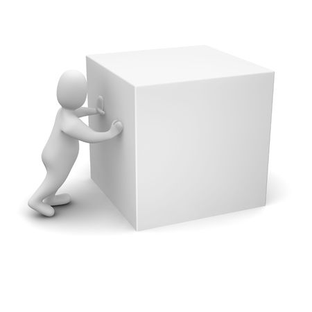 1 object: Man pushing blank cube. 3d rendered illustration.