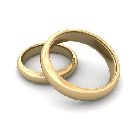 Golden wedding rings. 3d rendered illustration. illustration