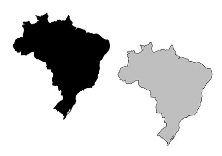 Brazil map. Black and white. Mercator projection.