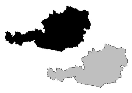 Austria map. Black and white. Mercator projection.