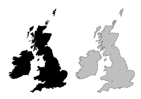 United Kingdom map. Black and white. Mercator projection. Illustration