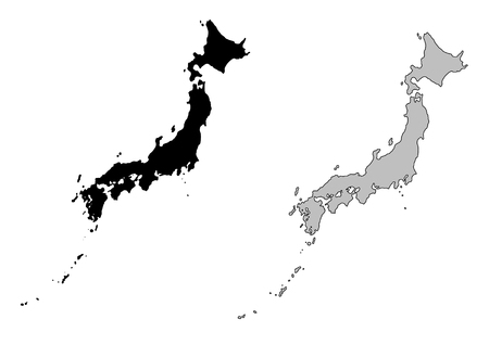 vector maps: Japan map. Black and white. Mercator projection.