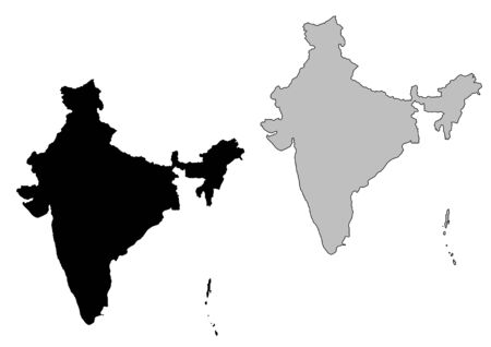 map of india: India map. Black and white. Mercator projection.