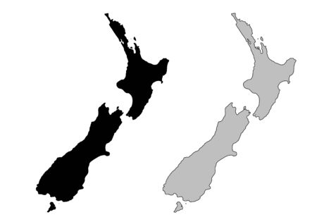 New Zealand map. Black and white. Mercator projection.