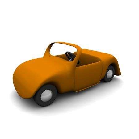 rendered: Cartoon cabriolet car. 3d rendered isolated illustration.