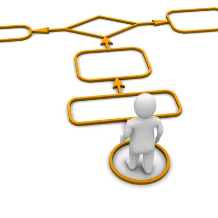 mapa de procesos: Hombre y diagrama. 3d prestados ilustraci�n aisladas sobre fondo blanco.