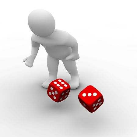 dice: Man throwing red dices. 3d rendered illustration.