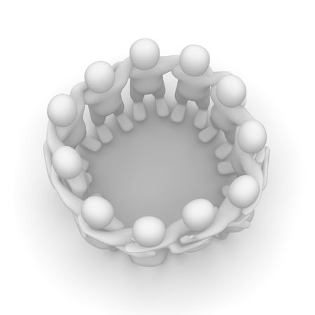 circle of friends: Friends meeting. 3d rendered illustration isolated on white.