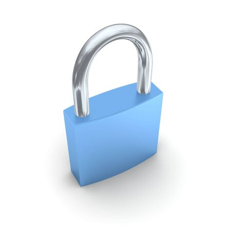 Blue lock isolated on white. 3d rendered illustration.