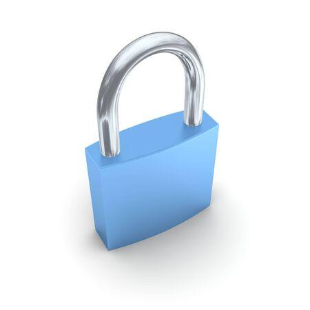 travar: Blue lock isolated on white. 3d rendered illustration.