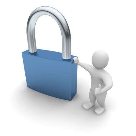 lean: Man lean on padlock. 3d rendered illustration. Stock Photo