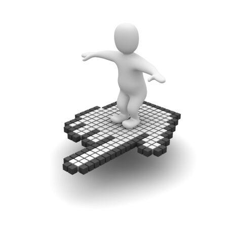 curseur souris: Man battant le curseur de la souris sur l'ordinateur. Rendu 3d illustration.