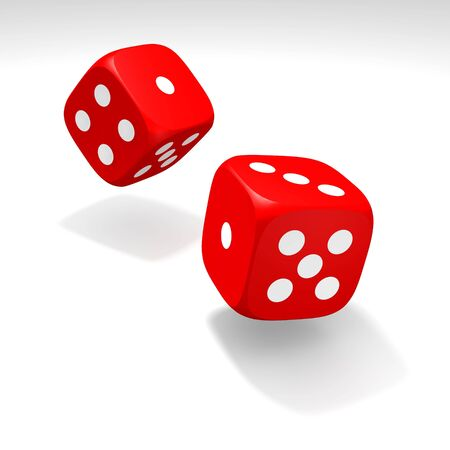 Red dices in move. 3d rendered illustration. illustration