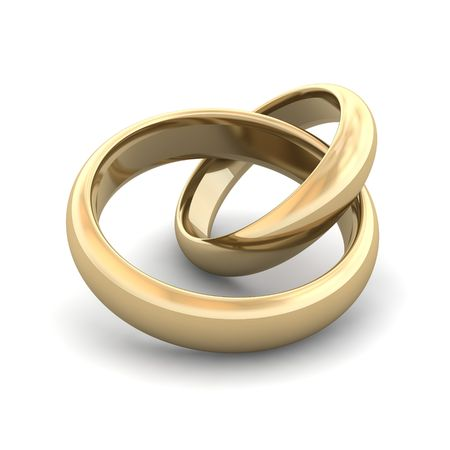 Golden wedding rings. 3d rendered illustration. Stock Photo