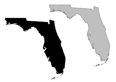 Carte de la Floride. Noir et blanc. Projection de Mercator.