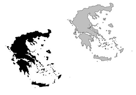 Greece map. Black and white. Mercator projection. Vector