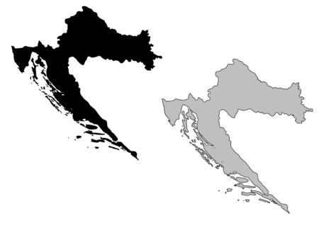 croatia: Croatia map. Black and white. Mercator projection. Illustration