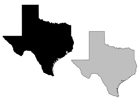 Texas map. Black and white. Mercator projection. Illustration