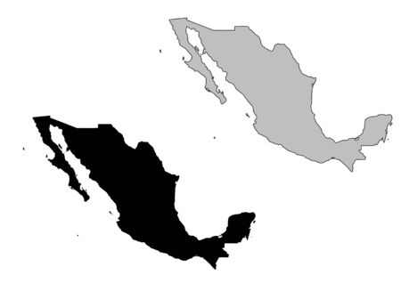 Mexico map. Black and white. Mercator projection. Illustration