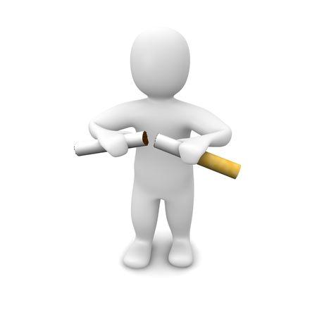 no fumar: Hombre romper cigarrillo. 3d prestados ilustraci�n. Aislado en blanco.
