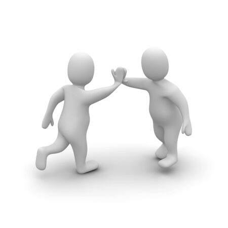 Two characters giving high five. 3d rendered illustration. Stock Illustration - 4863943
