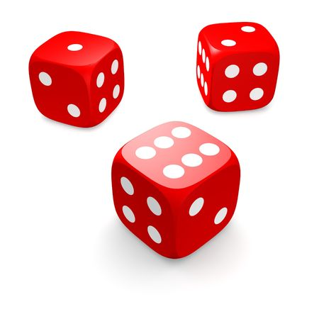 dices: Three red dices isolated on white. 3d rendered illustration. Stock Photo