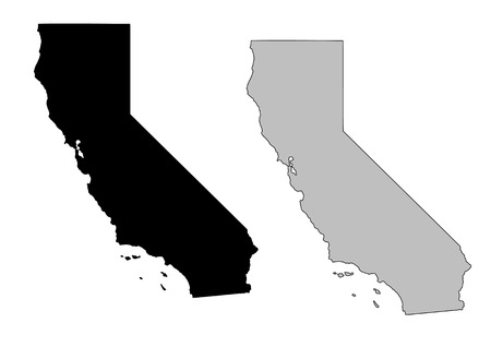 California map. Black and white. Mercator projection.