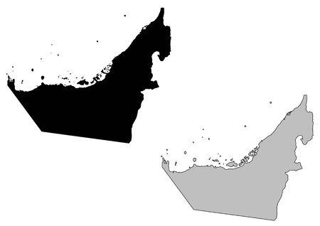 the emirates: Emiratos �rabes Unidos mapa. Negro, sobre fondo blanco. Proyecci�n de Mercator.