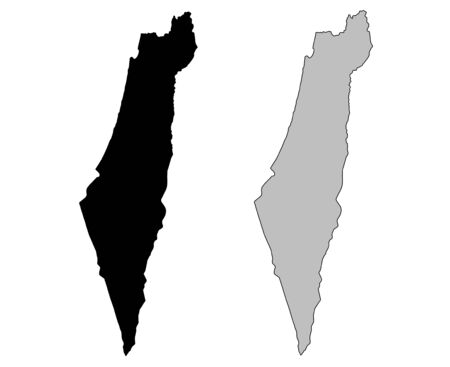 Israel map. Black and white. Mercator projection. Vector