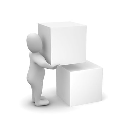 rendered: Man carrying blank box. 3d rendered illustration.
