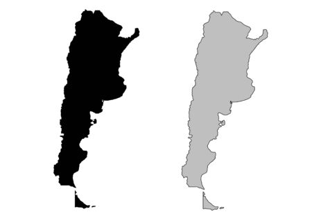 Argentina map. Black and white. Mercator projection. Vector