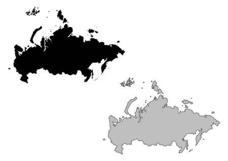 russland karte: Russland Karte. Schwarz und Wei�. Mercator-Projektion.