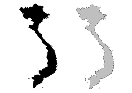 vietnam: Vietnam map. Black and white. Mercator projection.