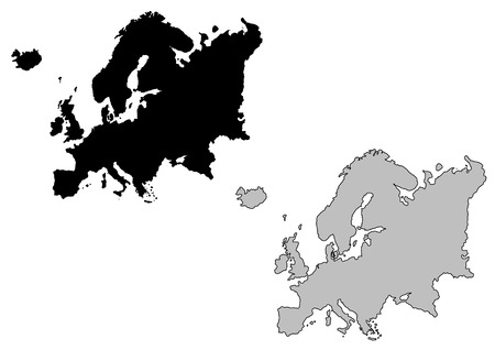Europe map. Black and white. Mercator projection.
