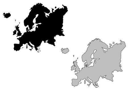 continente: Mapa de Europa. Blanco y negro. Proyección de Mercator.