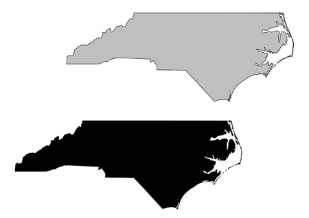 to the north: North Carolina map. Black and white. Mercator projection.