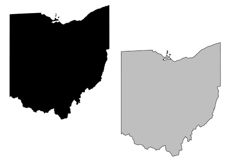 Ohio map. Black and white. Mercator projection.