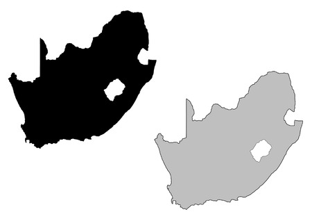 south of the border: South Africa map. Black and white. Mercator projection.