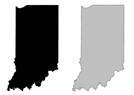 Indiana map. Black and white. Mercator projection. Vector
