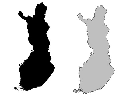boundary: Finland map. Black and white. Mercator projection. Illustration